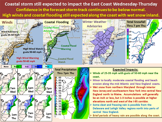 National Weather Service Map Nov 8 Nor'easter